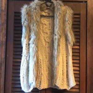 H&M knit and faux fur vest
